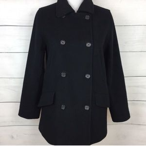 J. Crew Double Breasted Black Wool Blend Peacoat
